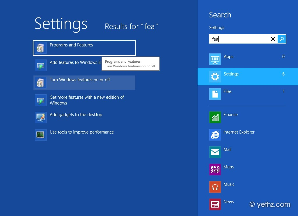 Programs and Features in Windows 8