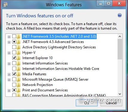 Turn Features in Windows 8