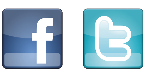 facebook and twitter icon and logo